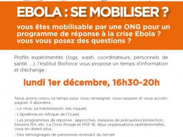 "Temps d'information et d'échange ""Ebola : se mobiliser ?"" – Institut Bioforce"