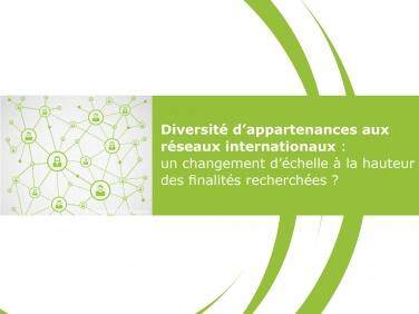 Etude «Diversité d'appartenance aux réseaux internationaux: un changement d'échelle à la hauteur des finalités recherchées?»
