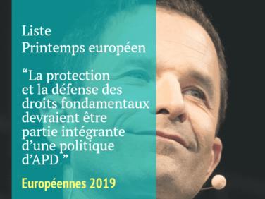 Pour la liste menée par Benoît Hamon, la protection et la défense des droits fondamentaux devraient être partie intégrante d'une politique d'APD