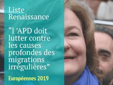 Pour la liste emmenée par Nathalie Loiseau, l 'APD doit lutter contre les causes profondes des migrations irrégulières