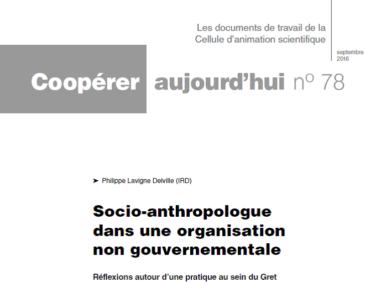 Socio-anthropologue dans une organisation non gouvernementale