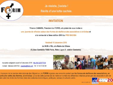 [FORIM] Invitation :: Je résiste, j'existe. Récits d'une lutte cachée // le 16 décembre 2016 à la Mairie du 20e