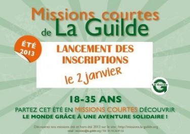 Offres de missions courtes de La Guilde pour l'été 2013