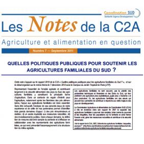 Les Notes de la C2A n°7 : Quelles politiques publiques pour soutenir les agricultures familiales du sud?