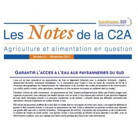 Les Notes de la C2A n°8 : garantir l'accès à l'eau aux paysanneries du Sud