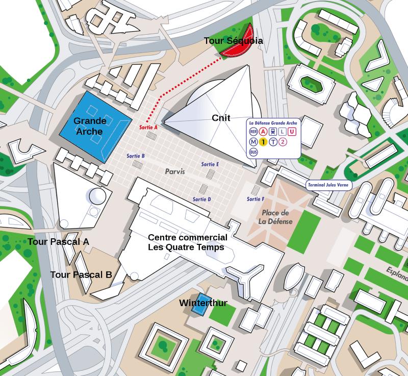 Plan d'accès tour Sequoia, La Défense
