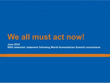 Nous devons tous agir maintenant!  – Coordination SUD/ICVA/InterAction/VOICE/NEAR/VENRO
