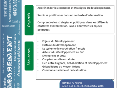 Stratégies, concepts et acteurs de la coopération internationale et du développement local