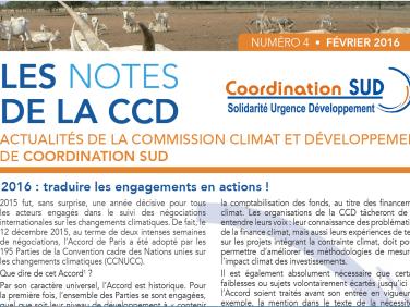 Les Notes de la CCD n°9 : Les enjeux de la commission Climat et développement en 2016
