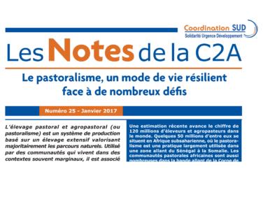 """Les Notes de la C2A n°25 : """"Le pastoralisme, un mode de vie résilient face à de nombreux défis"""""""