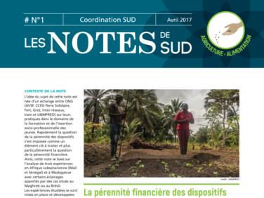 Les premières Notes de SUD: la pérennité financière des dispositifs de formation professionnelle rurale