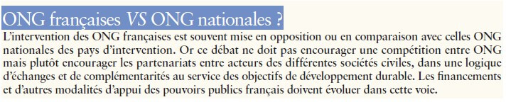 ONG françaises VS ONG nationales ?
