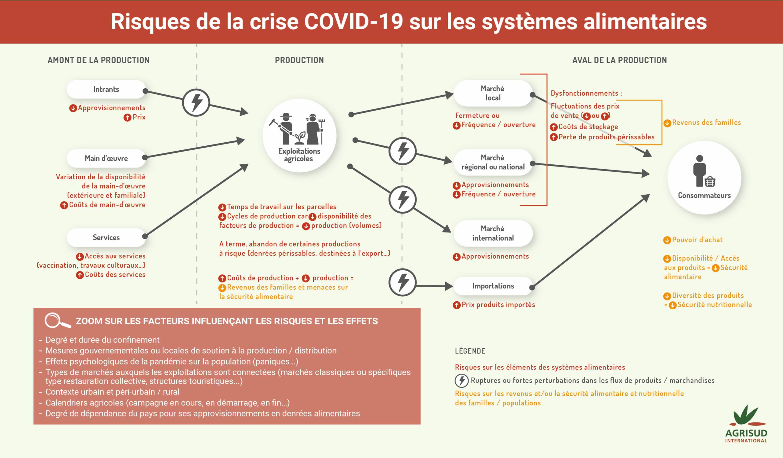 infographie des risques de la crise du Covid-19 sur les systèmes alimentaires