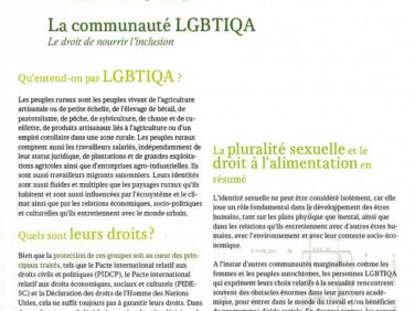 La communauté LGBTIQA: le droit de nourrir l'inclusion – FIAN