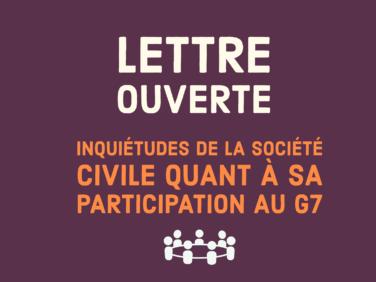 Lettre ouverte à Emmanuel Macron: Inquiétudes de la société civile quant à sa participation au G7