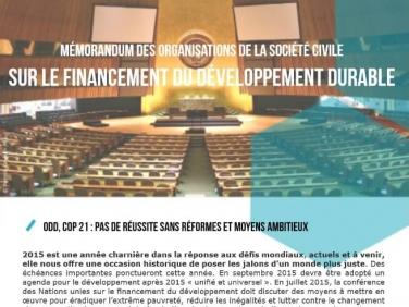 Mémorandum des organisations de la société civile sur le financement du développement durable