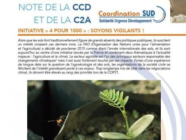 Note de la CCD n°8 : Initiative «4 pour 1000 : soyons vigilants ! «