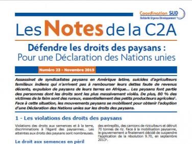 Les Notes de la C2A n°23: «Défendre les droits des paysans: pour une Déclaration des Nations unies»