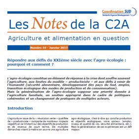 Les Notes de la C2A n°10 : Répondre aux défis du XXIème siècle avec l'agro-écologie : pourquoi et comment?