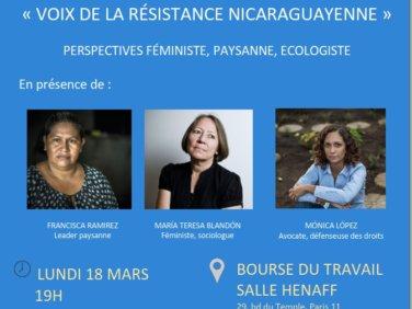 Réunion publique «Voix de la résistance nicaraguayenne » : perspective féministe, paysanne et écologiste.